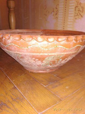 Розписна антикварная глиняна гуцульська тарілка