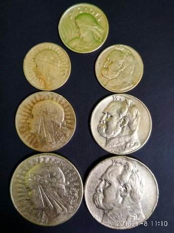 Продам срібні злоти Польщі 1925-1935 рр 1; 2; 5; 10 злотих