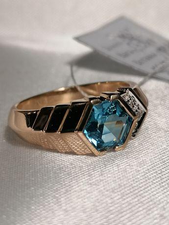 Золотое кольцо с натуральным опалом и бриллиантами