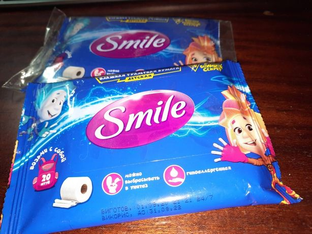 """Влажная туалетная бумага """"Фиксики"""" 20 шт Smile Ukraine 2 упаковки"""
