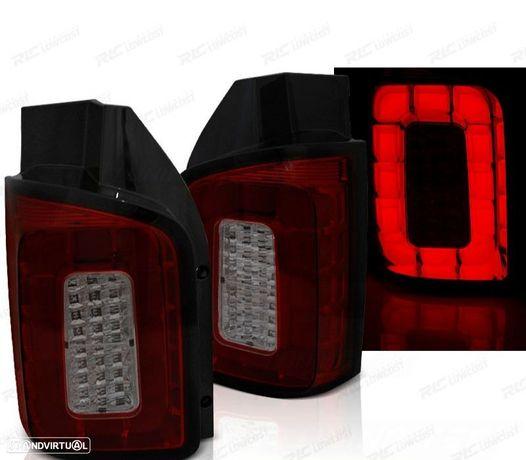 CONJUNTO DE FAROLINS LED / BAR VW T6 TRANSPORTER 15- VERMELHO /FUMADOS