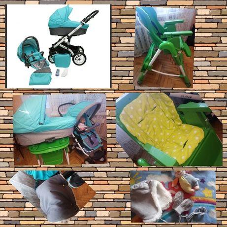 2в 1 коляска Mikrus Plaudi+ стульчик, муфты, вкладыш, игрушка, шапка