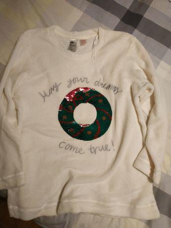 Nowa bluza piżama polar biała cekiny L