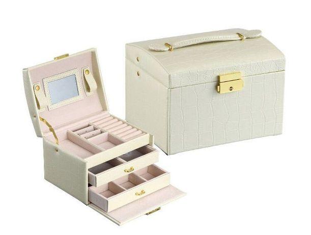 Kuferek szkatułka pudełko organizer na biżuterię biały