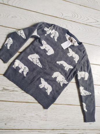 Nowy sweterek H&M 134 140 szary sweter w niedźwiedzie misie