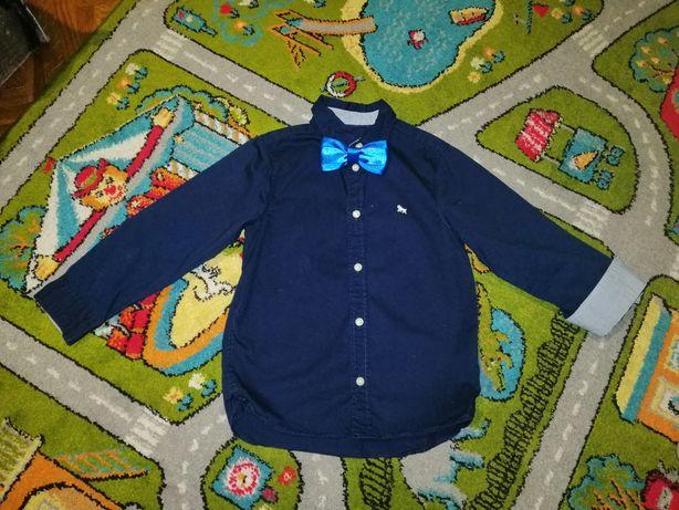 Рубашка H&m 5-6лет синяя и бабочка стиляга