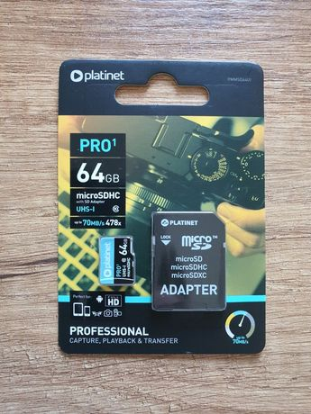 Nowa karta pamięci 64 GB Platinet PRO1, bardzo szybka, zapakowana