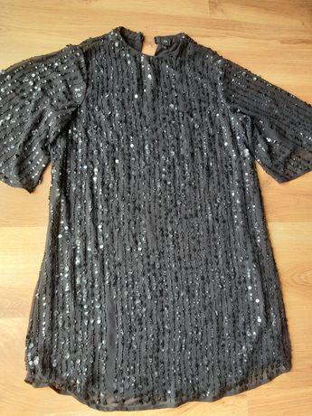 Sukienka River Island, cekiny, czarna, efektowna, rozm. 40