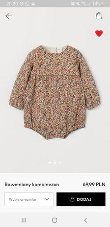 H&M exclusive kombinezon w drobne kwiatki r. 62