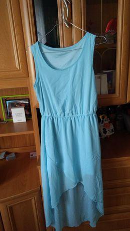 Błękitna, letnia, zwiewna sukienka. Rozmiar 36/ małe M