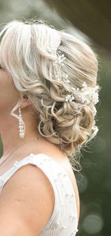 Ozdoba do włosów, do ślubu, efektowana z perelkami