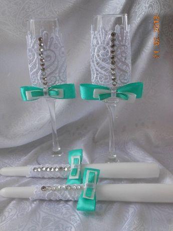 ЗНИЖЕНА ЦІНА!!!Весільні бокали та свічки
