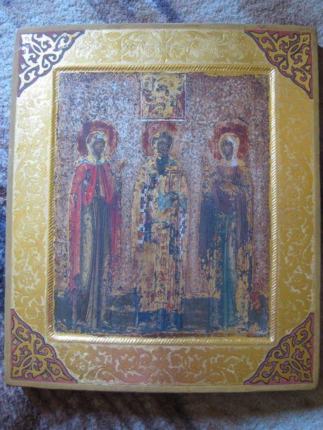 Икона Святые. 31.4х26.6см (под реставрацию)