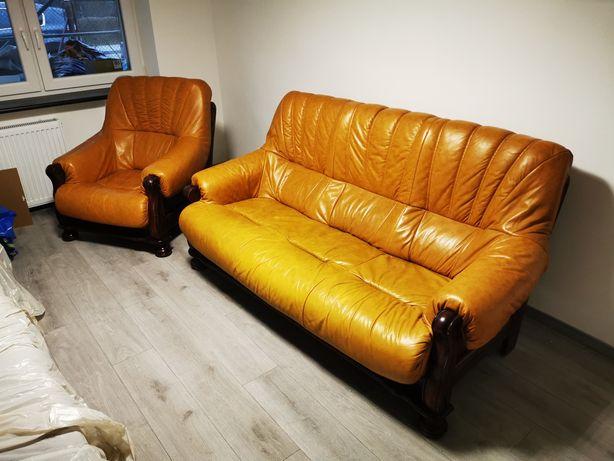 Sofa i Fotel * drewno skóra * ze Szwajcarii