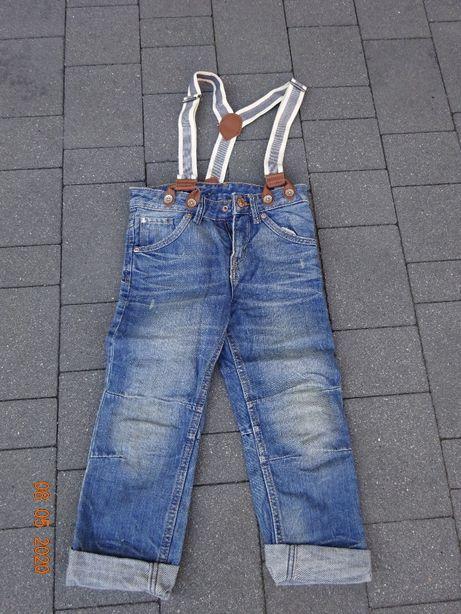 Spodnie jeansowe z szelkami H&M rozmiar 104