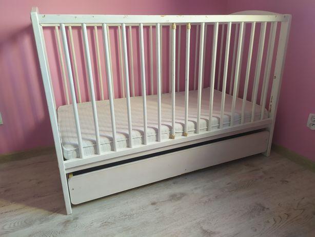 Łóżeczko drewniane 60x120 szuflada, materac lateksowy Hevea + gratis