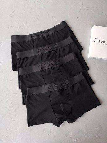 Мужские трусы боксёры Calvin klein, Armani, Versace TOTAL BLACK