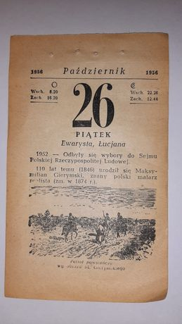 Kartka z kalendarza 1956, kalendarz 1956