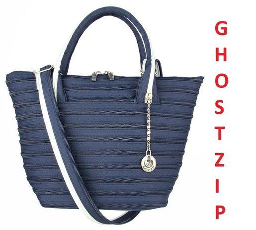 Torebka magiczna GhostZip niebiesko-biała Włoska ręcznie robiona
