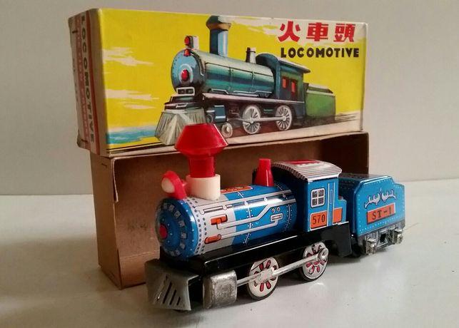 Stara zabawka Lokomotywa MF 712 Tin Toy na kluczyk