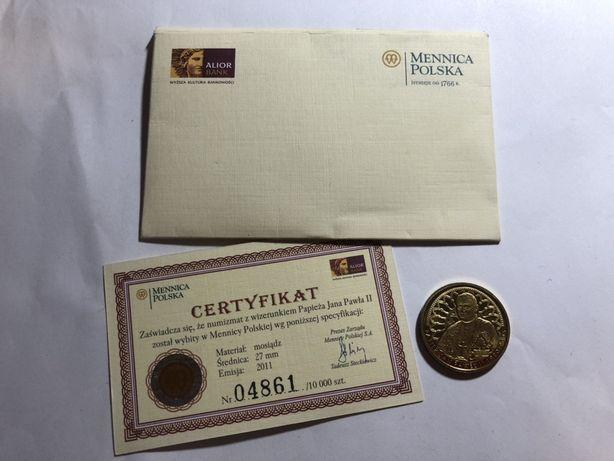 Moneta z certyfikatem Wizerunek Jana Pawła II unikat!