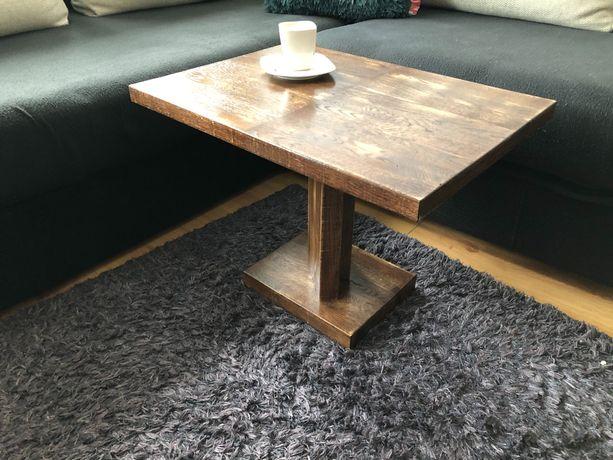 Nowy dębowy stolik kawowy, pomocniczy drewno, lakier, industrial, loft