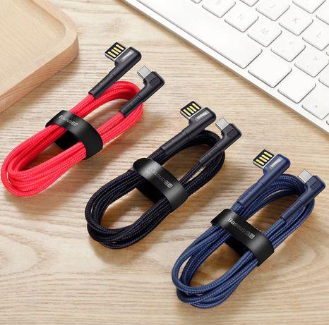 Оригинальный Кабель Baseus Elbow USB Type-C Cable LED Charge 3A