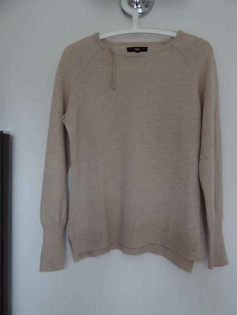 beżowy sweter wełna z wiskozą i kaszmirem