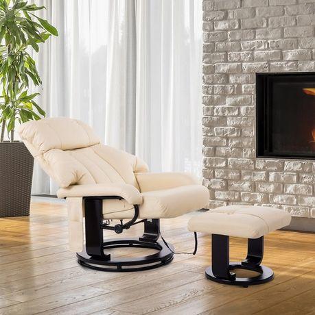 NOWY Fotel do masażu z podgrzewaniem i pufą