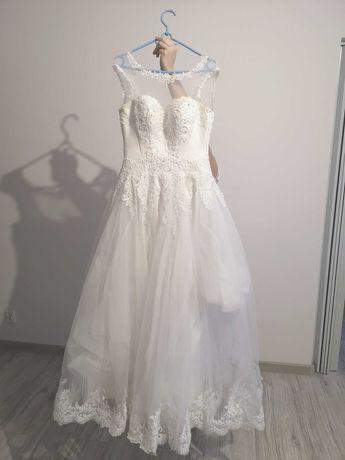 Suknia ślubna gorsetowa zdobiona koronką - Biała