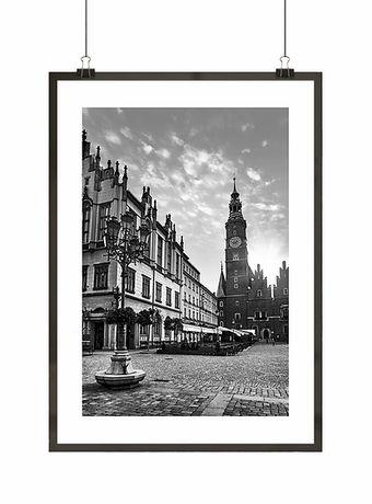 Plakat! Stary Rynek Wrocław! Czarno-biały skandi loft industrial