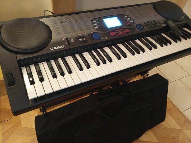 Keyboard syntezator Casio dynamiczna klawiatura, statyw, MIDI, torba