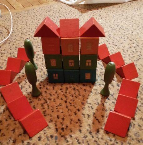 конструктор строитель (кубики -домики) детские деревянные 2-6 лет)