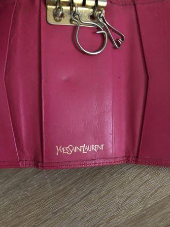 Ysl yves Saint Laurent brelok do kluczy portfel oryginał skóra