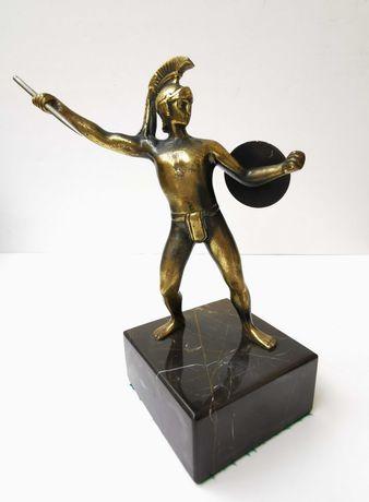 """Escultura ART DECO """"Guerreiro Etrusco"""" em Bronze e Mármore"""