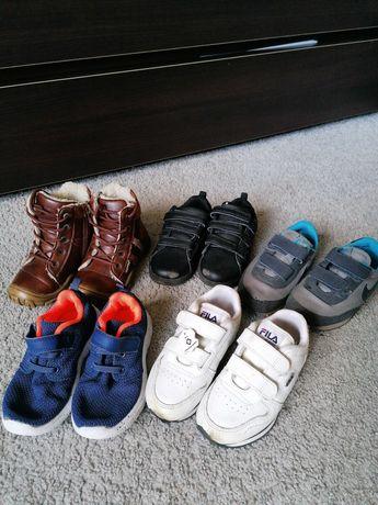 Buty jesienne Fila/Nike, skórzane zimowe dla chłopca r. 25