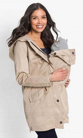 Nowa damska kurtka beżowa ciążowa z regulacją wiosna jesień 46 xxl