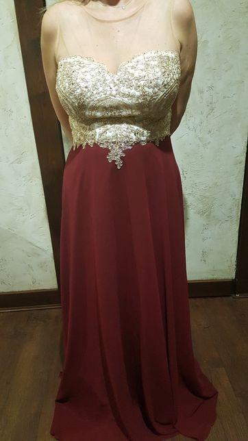 Suknia wieczorowa bal karnawał studniówka wesele złoto bordo zieleń