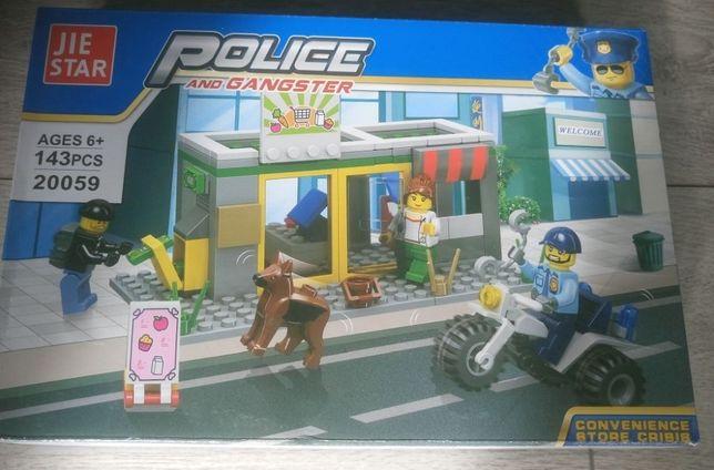 Zestaw klocków kompatybilnych z Lego: Policja - napad na sklep
