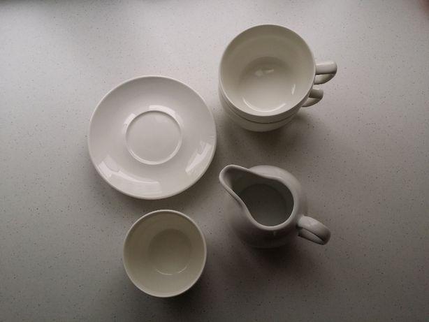 Serwis kawowy beż zestaw mlecznik, cukiernica duża filiżankax2
