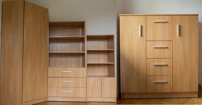 meble zestaw 4 elementy szafa narożna 2x regał komoda szuflady półki
