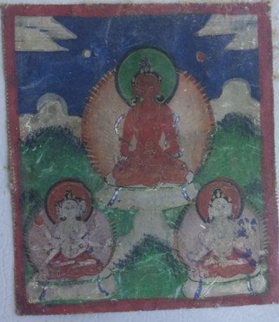 Tybetańska tanka miniaturowa Amitāyus. 19 wiek