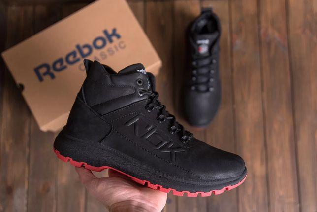 Распродажа. Мужские зимние кожаные кроссовки Reebok Black