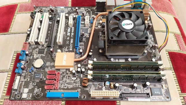 Материнская плата ASUS + процессор AMD Athlon + оперативная память