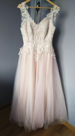 Suknia ślubna szampański róż halka gratis