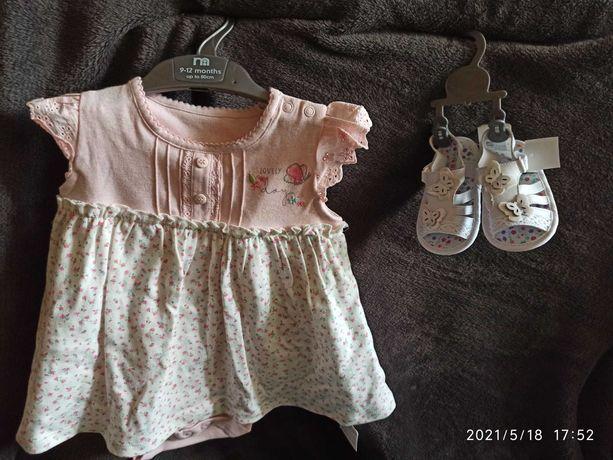 Наряд для девочки 9 месяцев платье босоножки mothercare новый