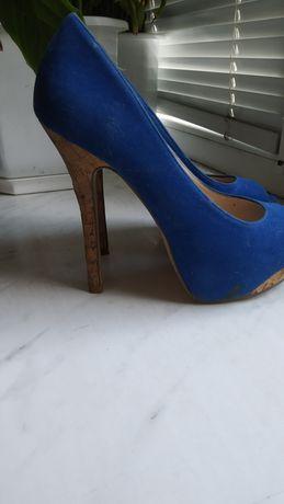 Туфли замшевые лодочки на шпильке синие черные