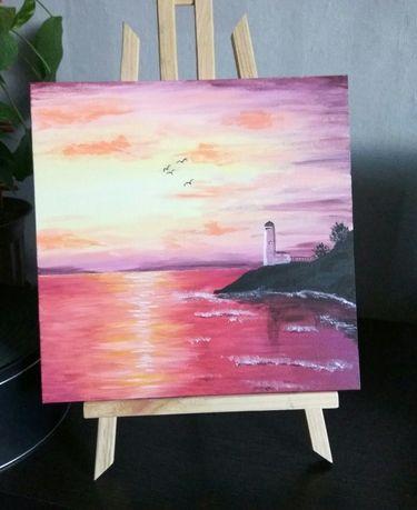 Latarnia morska obraz akryl na płótnie morze zachód słońca wieczór