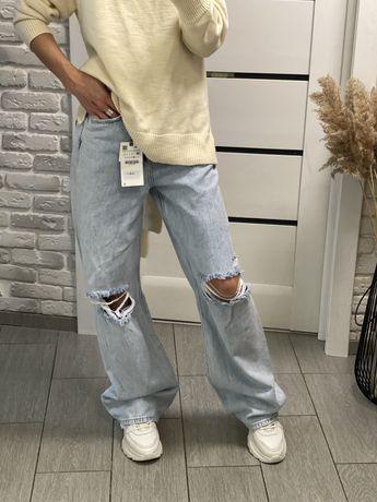 Джинсы Wide leg, Mom,  Zara размер 34,36