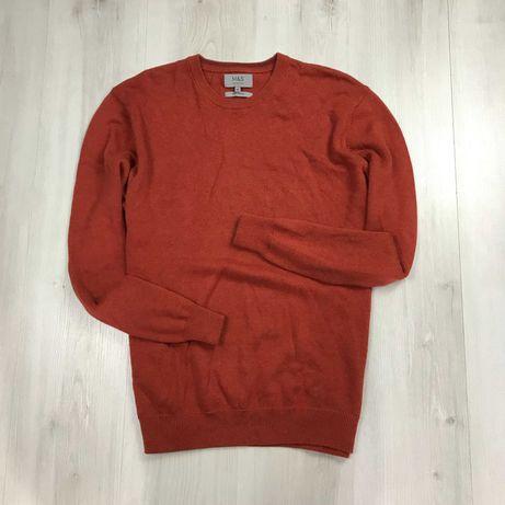 XL Свитер яркий 100% хлопок оранжевый вязаный пуловер кофта джемпер